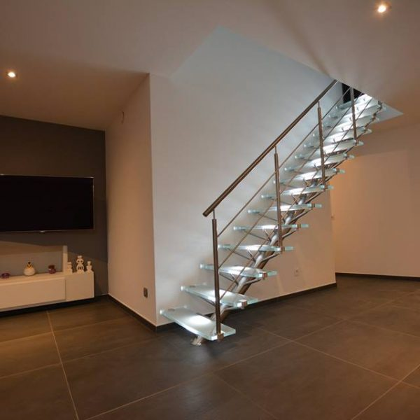 Escalier Inox Verre Opalin Extra Clair LED dimmables intégrées