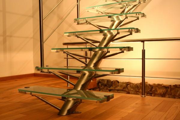 Escalier Inox Plexi-Verre