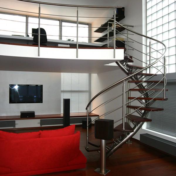 escalier inox bois