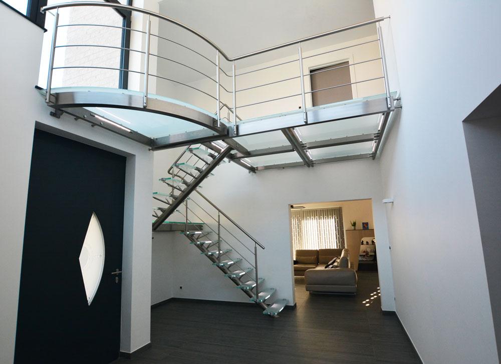 Escalier Inox verre belgique