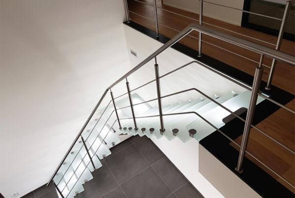 Escalier Inox Verre Opalin Extra Clair